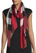 Burberry Ultra Washed Mega Check Silk Scarf, Red