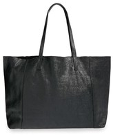 Street Level Junior Women's Slouchy Metallic Leather Tote - Black