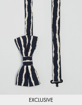 Reclaimed Vintage Inspired Stripe Bow Tie In Black