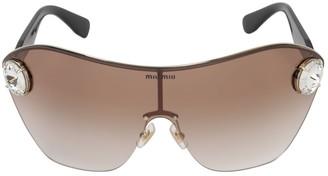 Miu Miu Enchant Metal Sunglasses W/ Crystals