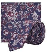 Burton Mens Navy And Burgundy Sunflower Tie And Matching Pocket Square Set