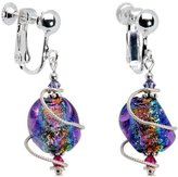 Body Candy Handcrafted Spiral Dichroic Glass Clip On Earrings Created with Swarovski Crystals
