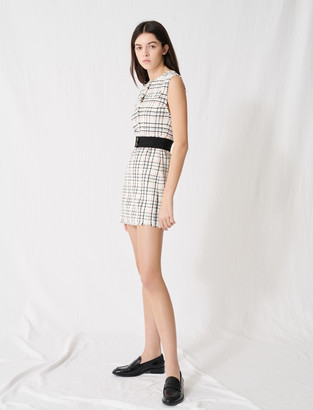 Maje Belted tweed mini dress
