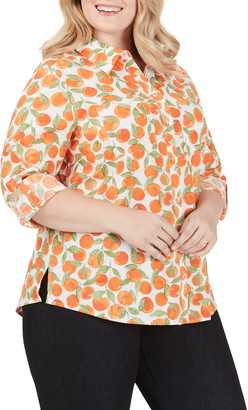 Foxcroft Zoey Tossed Oranges Cotton Blouse
