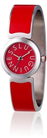 Lulu Guinness Red Bangle Watch women's quartz Watch with red Dial analogue Display and red silver Bangle 0.95.0489