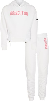 River Island Girls RI Active white mesh hoodie outfit