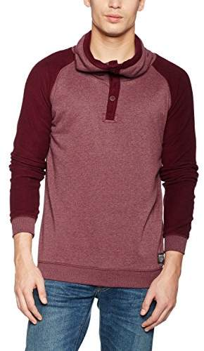 Tom Tailor Men's Snood in Reversed fabricmix Sweatshirt, Red (deep Burgundy red), Small