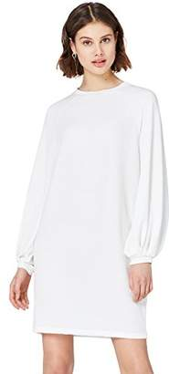 find. Women's Dress in Textured Jersey with Balloon and Long Sleeves ad Boat Neck,(Manufacturer size: Medium)