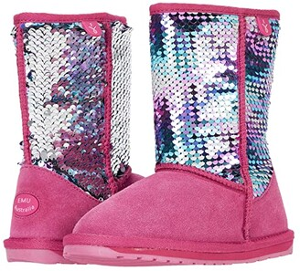 Emu Wallaby Sequin (Toddler/Little Kid/Big Kid) (Deep Pink) Girl's Shoes