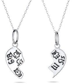 Bling Jewelry Sis Lil Sis Best Friend Split Heart Apart 2PC Sterling Silver Necklace