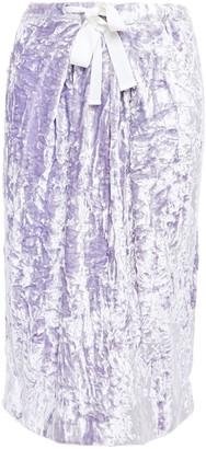 Victoria Beckham Gathered Crushed-velvet Skirt