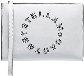 Stella McCartney logo-appliqued vegan patent-leather clutch bag