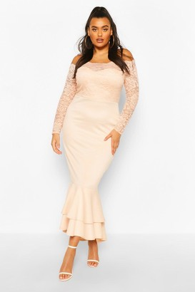boohoo Plus Lace Off The Shoulder Fishtail Maxi Dress