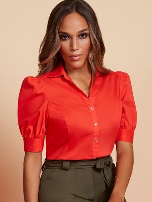 New York & Co. Puff-Sleeve Madison Stretch Shirt - Secret Snap - 7th Avenue