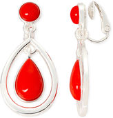 Liz Claiborne Red Gold-Tone Drop Clip-On Earrings