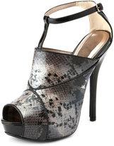 Charlotte Russe Snakeskin T-Strap Peep Toe Pump