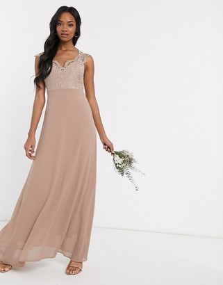 TFNC Bridesmaid scalloped lace top dress in mink