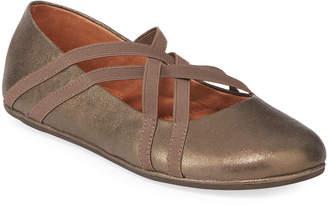 Gentle Souls Elba Elastic Metallic Leather Ballet Flats