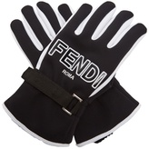 Fendi Bi-colour logo-print gloves