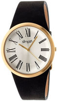Simplify Mens The 2000 Gold With Silver Dial Black Leather-Band Watch Sim2003