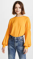 Tibi Easy Shirt with Shirred Sleeves