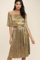LuLu*s Wishing Gold Off-the-Shoulder Dress