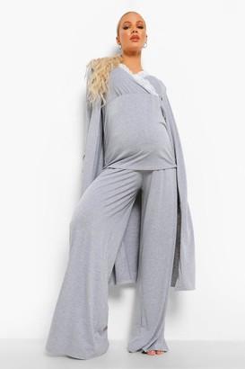 boohoo Maternity Nursing Lace Trim Robe Pj Trouser Set