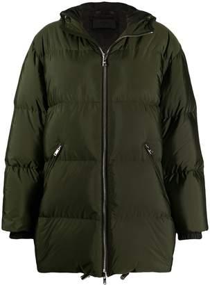 Prada feather down zipped long coat