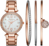 Liz Claiborne Womens Crystal Accent Mother-of-Pearl Rose-Tone Bracelet Watch & 3-pc. Bangle Bracelet Set