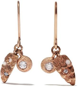 Carolina Bucci 18kt rose gold Florentine finish diamond and opal charm earrings