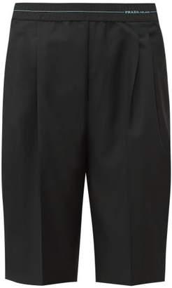 Prada Logo-waist Wool-blend Shorts - Womens - Black