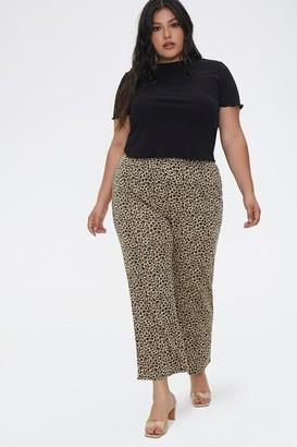 Forever 21 Plus Size Leopard Flare Pants