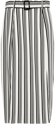 Wallis Monochrome Stiped Belted Skirt