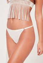 Missguided White Textured Lace G-String