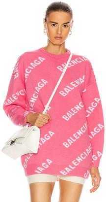 Balenciaga Long Sleeve Logo Sweater in Pink & White | FWRD