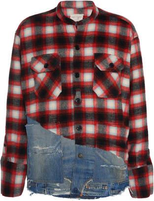 Greg Lauren 50/50 Denim-Paneled Plaid Wool Shirt