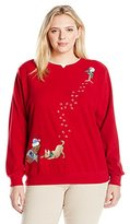 Alfred Dunner Women's Plus Size Classic Anti Pill Puppies Christmas Sweater