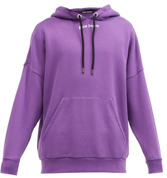 Palm Angels Logo-print Oversized Cotton Hooded Sweatshirt - Purple White