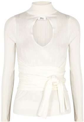 The Line By K Cybil Ivory Cut-out Ribbed-knit Jumper