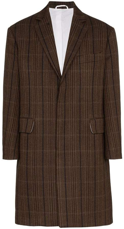 Calvin Klein Check print wool-silk blend coat