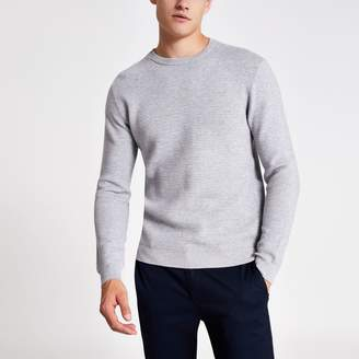 River Island Mens Grey marl slim fit zip neck knitted jumper