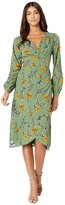 Cupcakes And Cashmere Alaura Autumn Wildflowers Soft Satin Wrap Midi Dress (Thyme Green) Women's Dress
