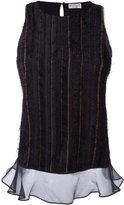 Brunello Cucinelli Textured sheer trim top - women - Silk/Brass - L
