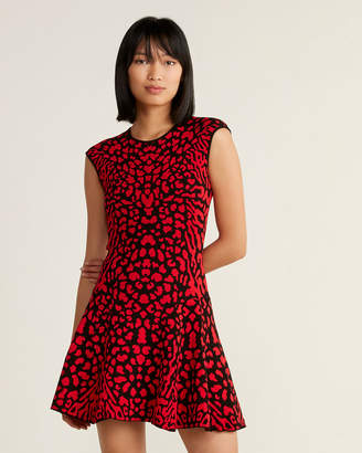 RVN Cougar Print Sheath Flare Dress