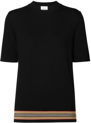 Burberry Short-sleeve Icon Stripe Detail Merino Wool Top