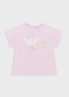 Emporio Armani Jersey T-Shirt With Gold Print
