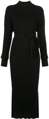Proenza Schouler Ribbed High-Neck Fitted Dress