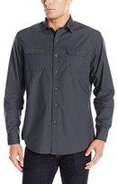 G.H. Bass Men's Essential Double Pocket Textured Long Sleeve Shirt
