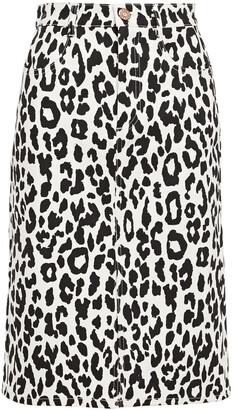 See by Chloe Leopard-print Denim Pencil Skirt