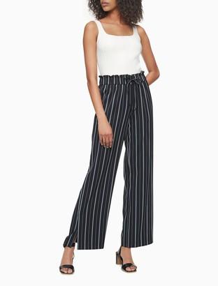 Calvin Klein Striped Tie Waist High Rise Wide Leg Soft Pants